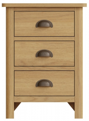 Hampton Rustic Oak 3 Drawer Bedside Cabinet
