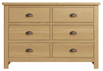 Hampton Rustic Oak 6 Drawer Chest