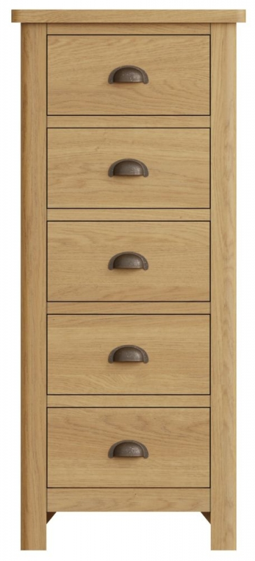 Hampton Rustic Oak 5 Drawer Tall Chest