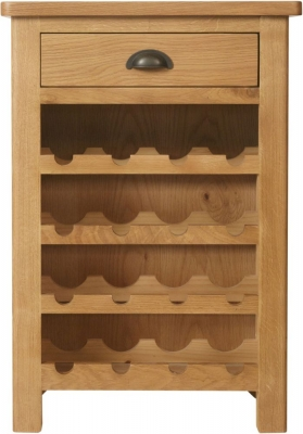 Hampton Rustic Oak 1 Drawer Wine Cabinet