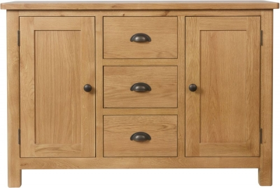 Hampton Rustic Oak 2 Door 3 Drawer Medium Sideboard