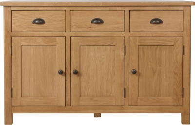 Hampton Rustic Oak 3 Door 3 Drawer Medium Sideboard