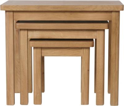 Hampton Rustic Oak Nest of 3 Tables