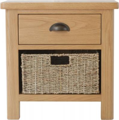 Hampton Rustic Oak 1 Drawer 1 Basket Unit