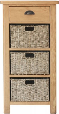 Hampton Rustic Oak 1 Drawer 3 Basket Unit