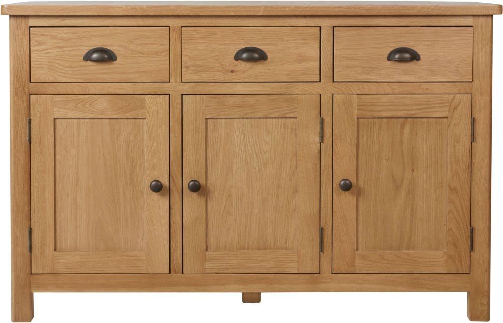 Hampton Rustic Oak 3 Door 3 Drawer Medium Sideboard