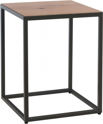 Inkster Industrial Oak and Metal Side Table