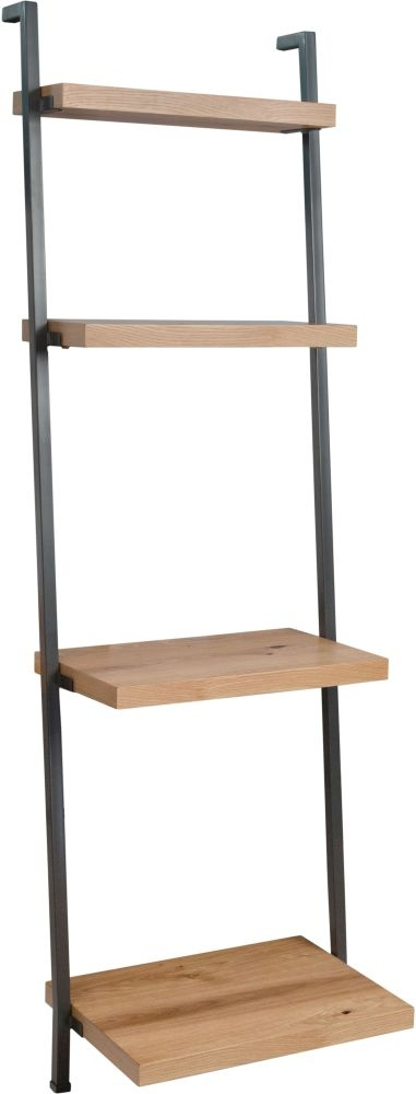 Inkster Industrial Oak and Metal Ladder Bookcase