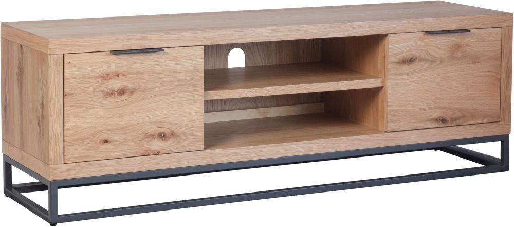 Inkster Industrial Oak and Metal Large TV Unit