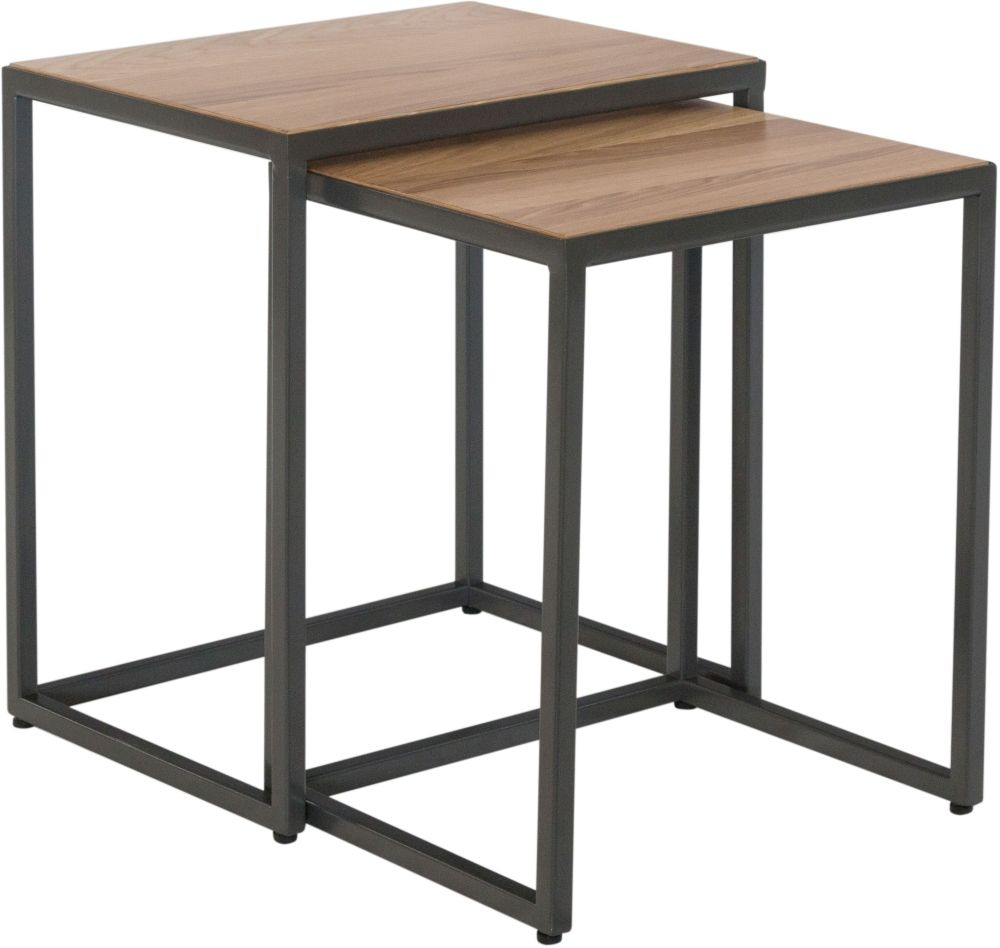 Inkster Industrial Oak and Metal Nest of 2 Tables