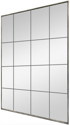 Distressed Metal Rectangular Window Mirror - 90cm x 120cm