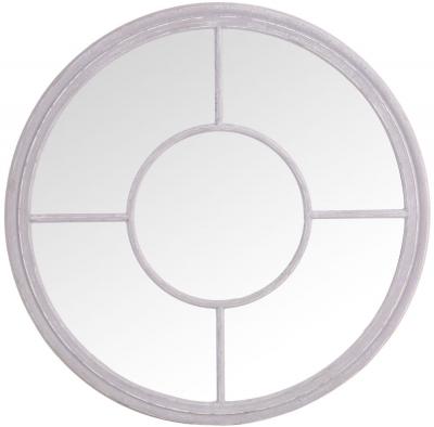 Grey Round Window Mirror - Dia 100cm
