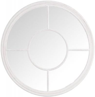 White Round Window Mirror - Dia 100cm