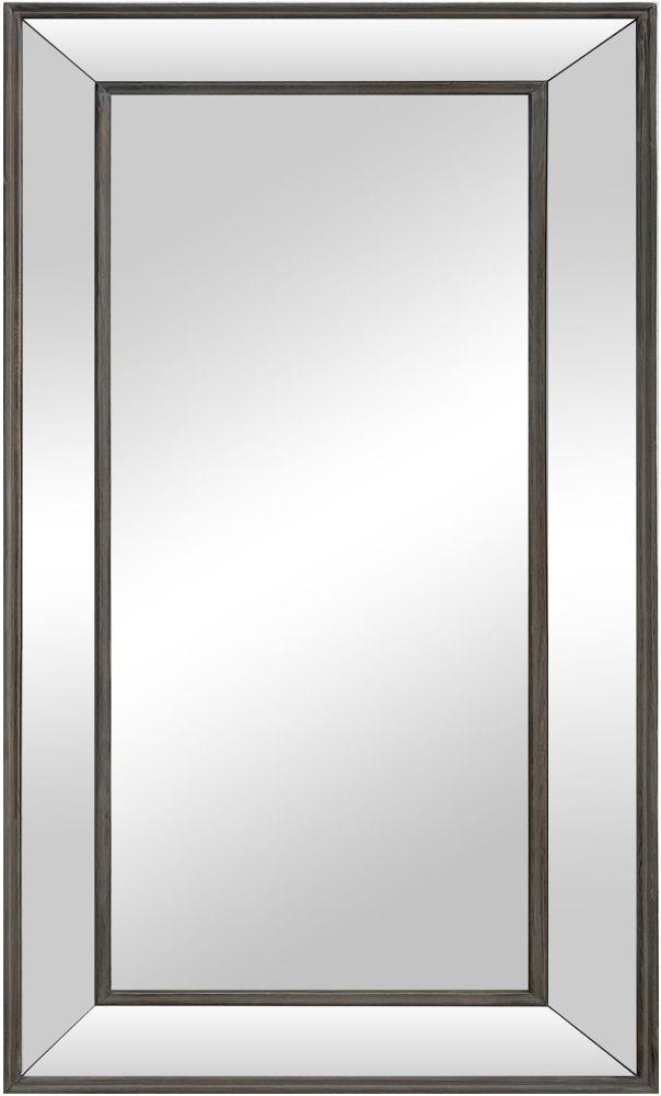 Aged Metal Bevelled Glass Rectangular Mirror - 61cm x 100cm