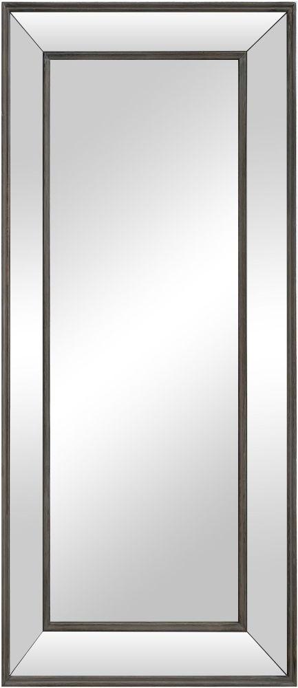 Aged Metal Bevelled Glass Rectangular Mirror - 61cm x 140cm