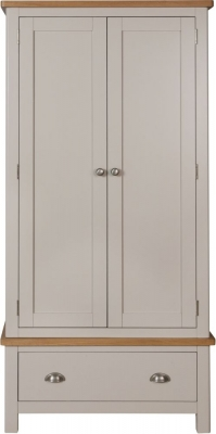 Portland Oak and Dove Grey Painted 2 Door 1 Drawer Wardrobe