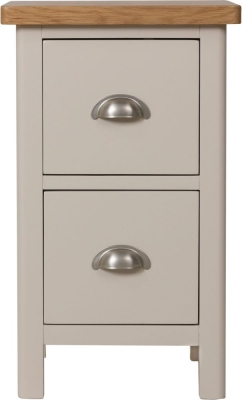Portland Oak and Dove Grey Painted 2 Drawer Bedside Cabinet
