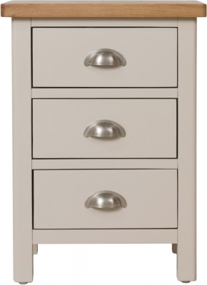 Portland Oak and Dove Grey Painted 3 Drawer Bedside Cabinet