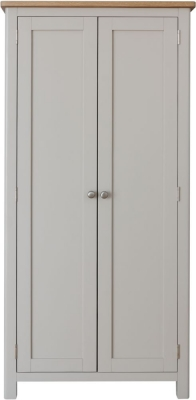 Portland Oak and Dove Grey Painted 2 Door Wardrobe