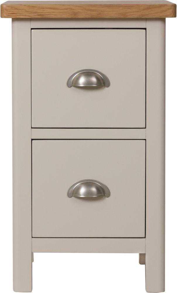 Portland Oak and Dove Grey Painted 2 Drawer Bedside Cabinet
