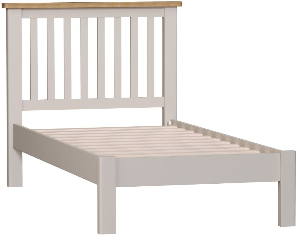 Portland Oak and Dove Grey Painted Bed