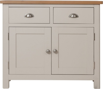 Portland Oak and Dove Grey Painted 2 Door 2 Drawer Sideboard