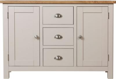 Portland Oak and Dove Grey Painted 2 Door 3 Drawer Sideboard