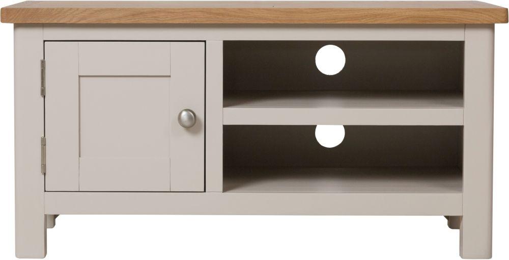 Portland Oak and Dove Grey Painted 1 Door TV Unit