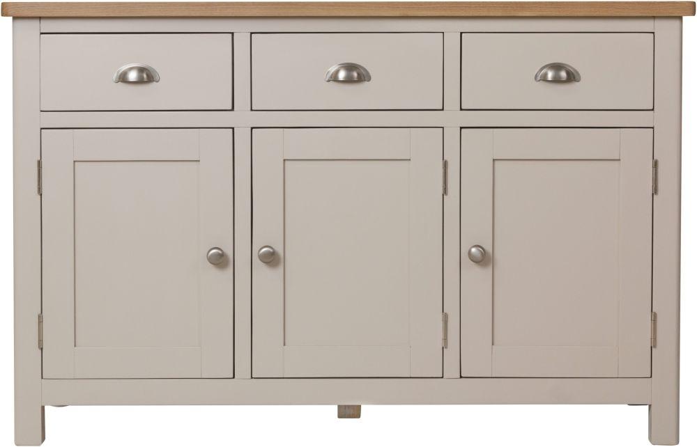 Portland Oak and Dove Grey Painted 3 Door 3 Drawer Sideboard