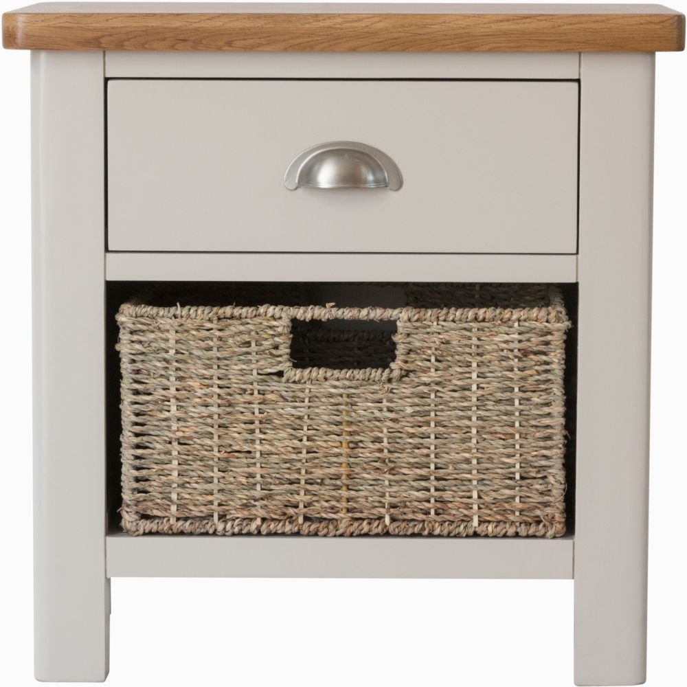 Portland Oak and Dove Grey Painted 1 Drawer 1 Basket Unit