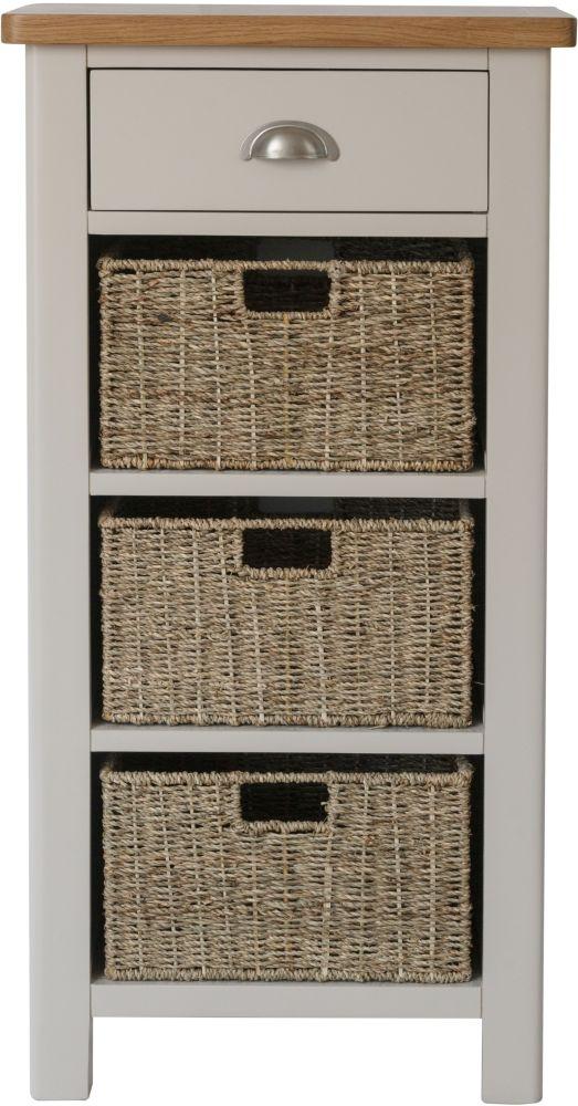 Portland Oak and Dove Grey Painted 1 Drawer 3 Basket Unit