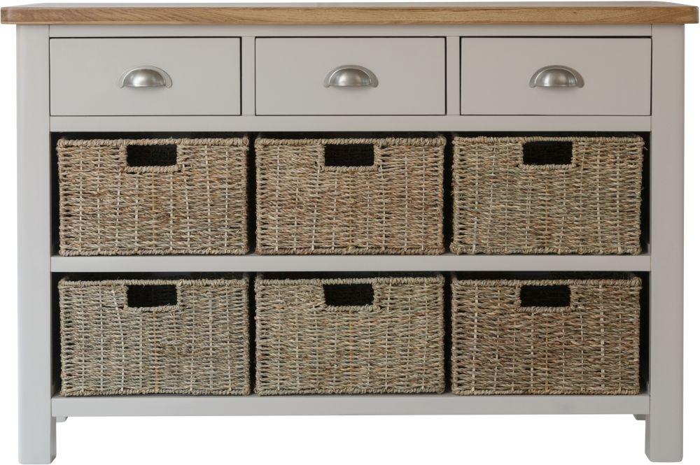 Portland Oak and Dove Grey Painted 3 Drawer 6 Basket Unit