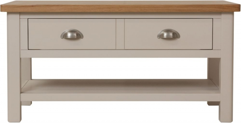 Portland Oak and Dove Grey Painted 2 Drawer Coffee Table