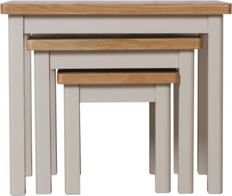 Portland Oak and Dove Grey Painted Nest of 3 Tables