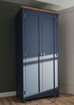 Portland Oak and Blue Painted 2 Door Wardrobe