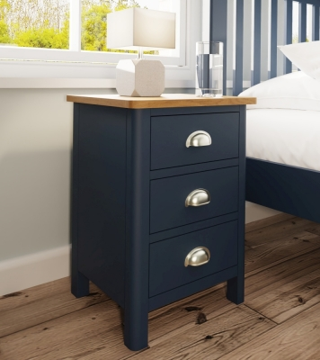 Portland Oak and Blue Painted 3 Drawer Bedside Cabinet