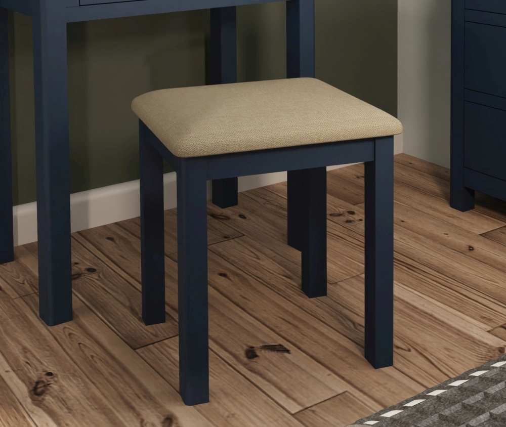 Portland Oak and Blue Painted Bedroom Stool