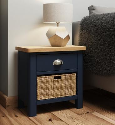 Portland Oak and Blue Painted 1 Drawer 1 Basket Cabinet