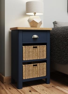 Portland Oak and Blue Painted 1 Drawer 2 Basket Cabinet