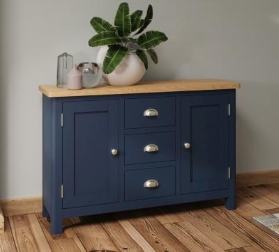 Portland Oak and Blue Painted 2 Door 3 Drawer Sideboard