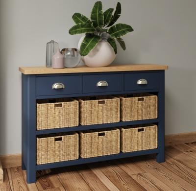 Portland Oak and Blue Painted 3 Drawer 6 Basket Cabinet
