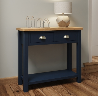 Portland Oak and Blue Painted Console Table