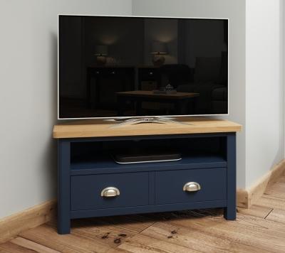 Portland Oak and Blue Painted Corner TV Unit