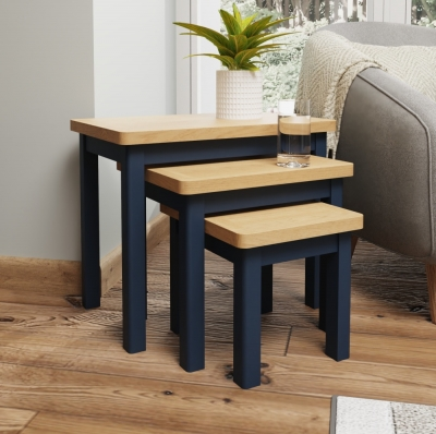 Portland Oak and Blue Painted Nest of 3 Tables