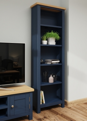 Portland Oak and Blue Painted Tall Bookcase