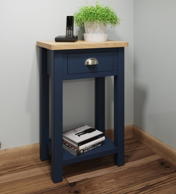 Portland Oak and Blue Painted Telephone Table