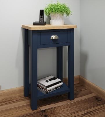 Portland Oak and Blue Painted Telephone Table