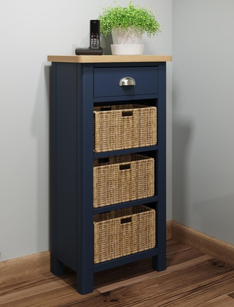 Portland Oak and Blue Painted 1 Drawer 3 Basket Cabinet