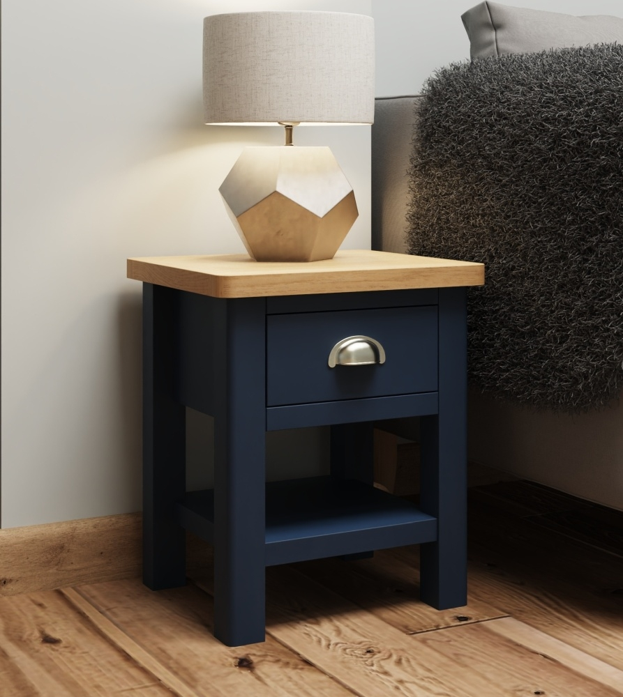 Portland Oak and Blue Painted 1 Drawer Lamp Table