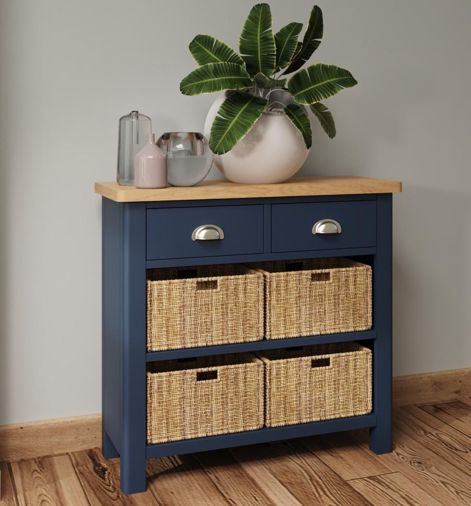 Portland Oak and Blue Painted 2 Drawer 4 Basket Cabinet